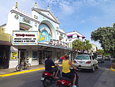 Strand Theatre building, and traffic on Duval Street, Key West, Florida, United States of America, North America