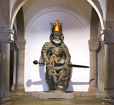 Statue of Emperor Ludwig (Louis the German), grandson of Charlemagne, in the crypt of Fraumunster Church, Zurich, Switzerland, Europe