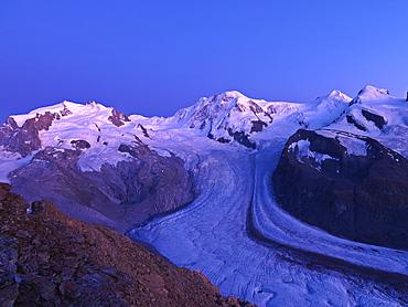 Peaks of Mount Rosa, Liskamm, and Breithorn and the Gorner Glacier as viewed from the Gornergrat, Zermatt, Valais, Switzerland, Europe