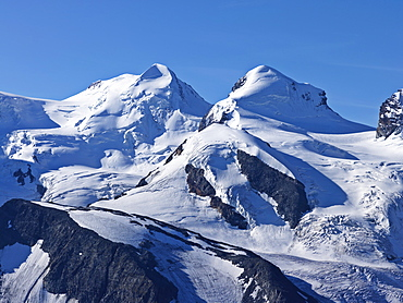 Peaks of Mount Liskamm and Breithorn as viewed from the Gornergrat, Zermatt, Valaid, Switzerland, Europe