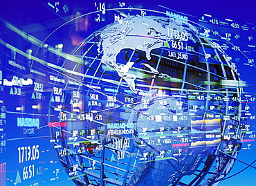 World globe with stock market symbols, New York City, New York, United States of America, North America