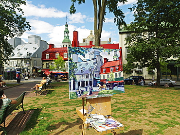 Painting depicting Rue Ste-Anne, Place d'Armes, Quebec City, Quebec, Canada, North America