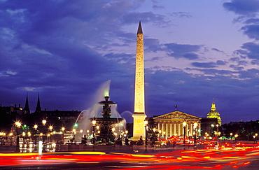 Place de la Concorde illuminated at night, Paris, France, Europe