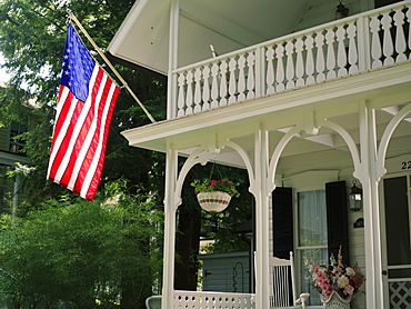 Victorian home displaying the American flag, Chautauqua, New York State, United States of America, North America
