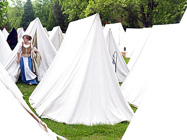Tents set up as a camp in reenactment of French Indian War of 1759, Old Fort Niagara dating from 1679, Youngstown, New York State, United States of America, North America
