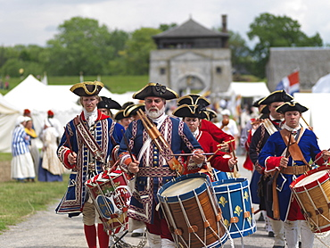 French soldiers drumming, French-Indian War of 1759 reenactment, Old Fort Niagara, Youngstown, New York State, United States of America, North America