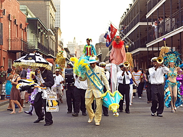Second line parade led by the Grand Marshall, French Quarter, New Orleans, Louisiana, United States of American, North America