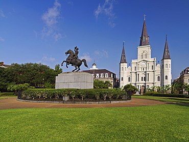 St. Louis Cathedral, Jackson Square, French Quarter, New Orleans, Louisiana, United States of America, North America