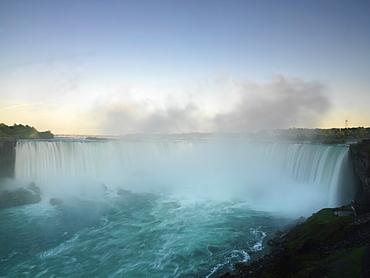 View of the Canadian Falls at dusk, Niagara Falls, Ontario, Canada, North America