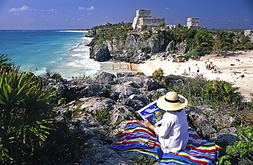 Woman sketching ruins, Tulum, Yucatan, Mexico, North America