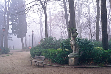 Giardini Pubblici (the Public Gardens) on a foggy day, Venice, UNESCO World Heritage Site, Veneto, Italy, Europe