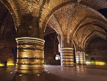 The Hospitaller Knights Halls, beneath the Crusader Citadel, UNESCO World Heritage Site, Akko, Israel, Middle East