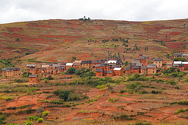 Mud houses village on terrace fields, Antsirabe, Central Madagascar, Africa