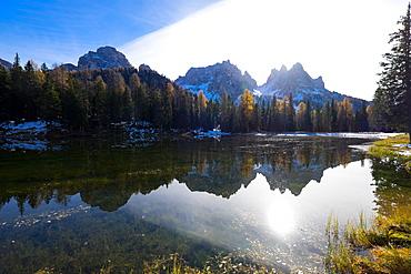 Tre Cime di Lavaredo and their reflection on Antorno lake, Auronzo, Belluno, Veneto, Dolomites, Italy, Europe
