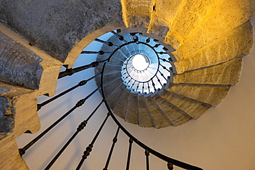 Spiral marble staircase at the Patriarchal Seminary of Venice, Italy, Europe