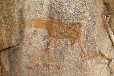Ancient rock art of a painting depicting an animal, at Matobo National Park, Zimbabwe, Africa