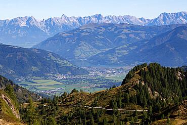 View from the Kitzsteinhorn mountain, in the Austrian Alps, towards Zell am See, in Salzburgerland, Austria, Europe