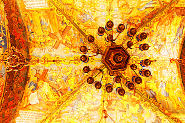 Christian artwork on the Altar of the Crucifixion's vaulted ceiling in the Church of the Holy Sepulchre in Jerusalem, Israel, Middle East - 826-751