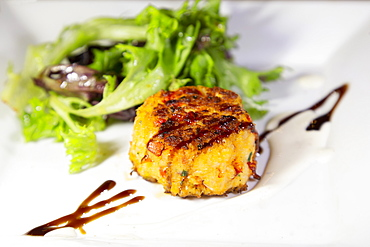 A lobstercake, an appetizer made with locally caught lobster, served in Chester, Nova Scotia, Canada, North America - 826-754