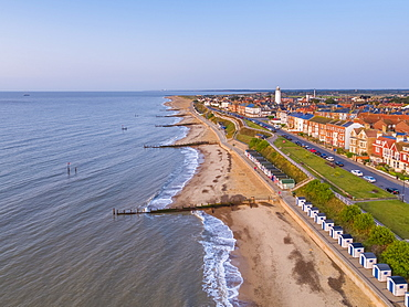 View by drone of Southwold Lighthouse and coast, Southwold, Suffolk, England, United Kingdom, Europe
