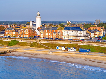 View by drone of Southwold Lighthouse, Southwold, Suffolk, England, United Kingdom, Europe