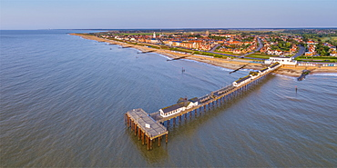 View by drone of Southwold Lighthouse and Southwold, Suffolk, England, United Kingdom, Europe
