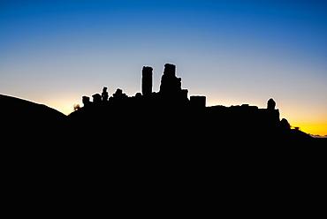 Corfe Castle at dawn, Dorset, England, United Kingdom, Europe