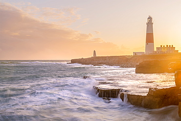 Portland Bill Lighthouse at sunset, Portland Bill, Isle of Portland, UNESCO World Heritage Site, Dorset, England, United Kingdom, Europe