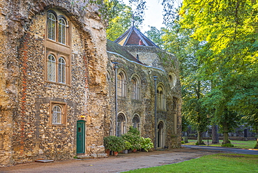 Houses built into the west front of the ruined Abbey Church, Bury St. Edmunds, Suffolk, England, United Kingdom, Europe