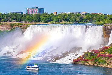 American Falls and Bridal Veil Falls, Niagara Falls, New York State, United States of America and Ontario, Canada, North America