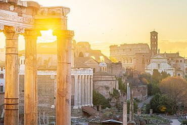 Forum at sunrise, UNESCO World Heritage Site, Rome, Lazio, Italy, Europe