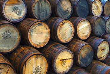 Casks (barrels), Port Askaig, Islay, Argyll and Bute, Scotland, United Kingdom, Europe