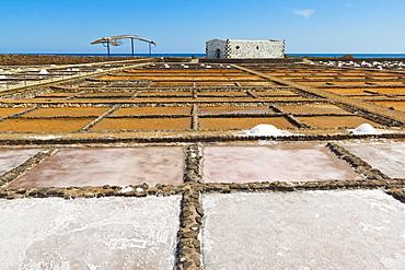 Salt pans still in use at El Carmen Salinas and Salt Museum on the east coast, Caleta de Fuste, Fuerteventura, Canary Islands, Spain, Europe