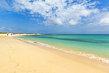Looking north on one of the beautiful sandy beaches south of this resort town, Corralejo, Fuerteventura, Canary Islands, Spain, Atlantic, Europe