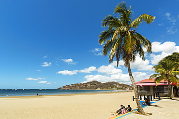 The half moon town beach at this popular tourist hub for the southern surf coast, San Juan del Sur, Rivas Province, Nicaragua, Central America