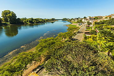 View northwest along the River Lot bank at this large town with a historic bastide centre, Villeneuve-sur-Lot, Lot-et-Garonne, France, Europe