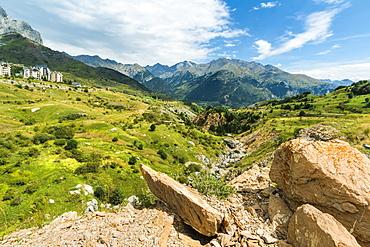 Rio Gallego and the Tena Valley beyond, below Formigal ski resort, Formigal, Sallent de Gallego, Huesca Province, Pyrenees, Spain, Europe