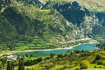 Lake Lanuza reservoir in the scenic upper Tena Valley of the Aragon Pyrenees, Lanuza, Sallent de Gallego, Huesca Province, Spain, Europe