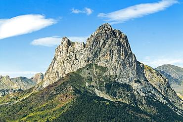 The 2341m limestone peak Pena Foratata, a great landmark in scenic upper Tena Valle, Sallent de Gallego, Pyrenees, Aragon, Spain, Europe