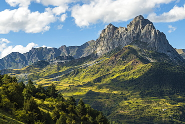 The 2282m Pena Foratata, not the highest but most iconic peak in the upper Tena Valley, Sallent de Gallego, Pyrenees, Huesca, Spain, Europe