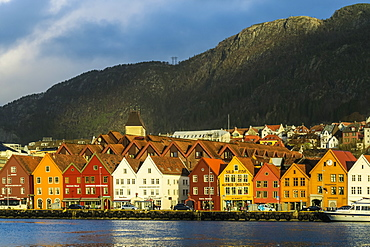 Hanseatic wooden waterfront commercial buildings of the Bryggen (the dock), UNESCO World Heritage Site, Bergen, Hordaland, Norway, Scandinavia, Europe