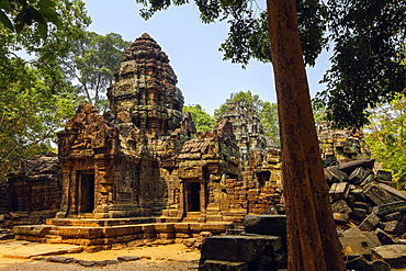 Gopura entrance doorway and tower at the 12th century Ta Som temple in ancient Angkor, Ta Som, Angkor, UNESCO World Heritage Site, Siem Reap, Cambodia, Indochina, Southeast Asia, Asia