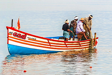 Fishermen pulling in net from the Arabian Ocean just off popular Marari Beach, Mararikulam, Alappuzha (Alleppey), Kerala, India, Asia