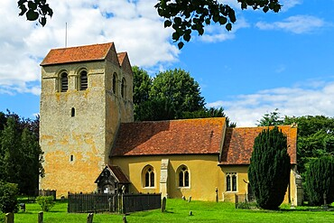 St. Bartholomew's church with its famous 12th century Norman Tower at Fingest in the Hambleden Valley, Fingest, The Chilterns, Buckinghamshire, England, United Kingdom, Europe