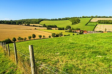 Looking towards Valley End Farm at Bix Bottom in the Chiltern Hills near Henley, Bix Bottom, Henley-on-Thames, Oxfordshire, England, United Kingdom, Europe