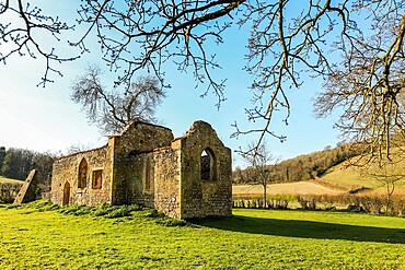 Ruin of St James' church near Bix, once central to Bix Brand, the lost mediaeval village; Bix, Henley-on-Thames, Oxfordshire, UK
