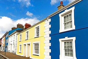 Some of the many colourful regency style houses by the harbour in this popular coastal town, Aberaeron, Ceredigion, Wales, United Kingdom, Europe