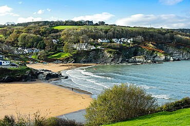 The two town beaches on Aberporth Bay at this small town and former herring fishing harbour, Aberporth, Ceredigion, Wales, United Kingdom, Europe - 83-13266
