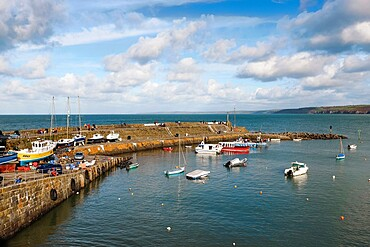 The harbour wall of this popular town for commercial fishing, dolphin watching and tourism, New Quay, Ceredigion, Wales, United Kingdom, Europe