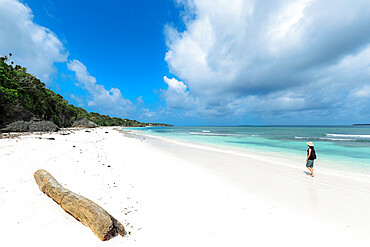Fine white sand on Bira Beach at this resort town in the far South, 190km from Makassar; Tanjung Bira, South Sulawesi, Indonesia